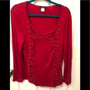 Venus Red Lace Up Long Sleeve Top Women's Large.
